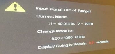 Input signal out of range что делать?